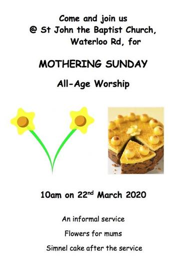- Mothering Sunday 10am
