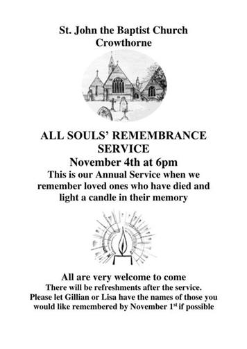 - All Souls' Remembrance Service - 4th November 2018