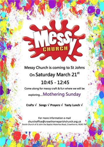 - Messy Church at St John's - Sat 21st March - 10:45-12:45